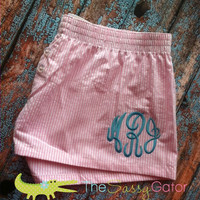 Monogrammed X-SMALL Pink Seersucker BOXERS-Preppy-Collegiate-­Sorority-Lounge Pants-Bridal Party- Graduation