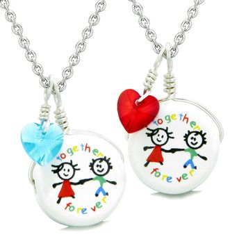 Love Couples Best Friends Forever Together Set Ceramic Charm Blue Red Hearts Amulet Pendant Necklaces