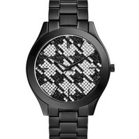 Michael Kors Mid-Size Black Stainless Steel Runway Three-Hand Glitz Watch