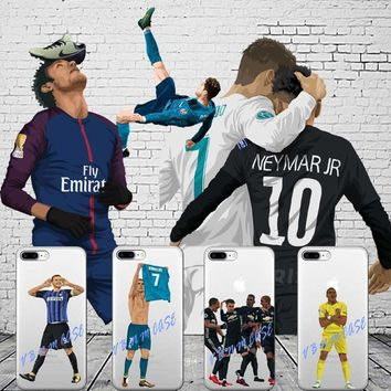 Football star cristiano ronaldo Lionel messi phone case for iPhone 5 SE 6 6plus 7 X XR XS MAX soft silicone Cover