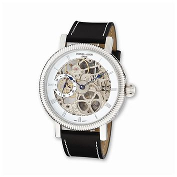 Charles Hubert Mens Skeleton Dial Watch