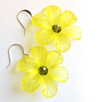 Bohemian Yellow Flower Bold Statement Earrings
