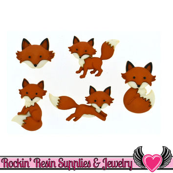 Jesse James Buttons 5 pc OUT FOXED Cute Fox Buttons
