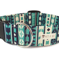 Tribal Dog Collar - Native Dog Collar - Southwest Dog Collar - Aztec Dog Collar - The Nomad - Metal Buckle Collar - Martingale Collar