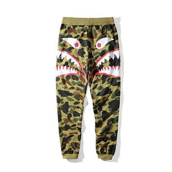 Autumn Winter New Men's Camouflage Shark Mouth Printing Casual Pants Men Women Loose Camouflage Long Pants | Best Deal Online