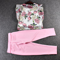 Casual Floral Butterfly Mesh Crop Top With Pink Trouser