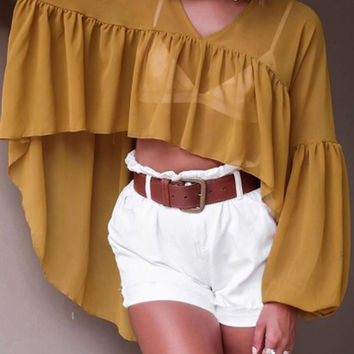 Yellow V Neck Dip Hem Puff Sleeve Chiffon Blouse