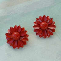 Red Enamel Daisy Flower Earrings Post Style Floral Vintage Jewelry