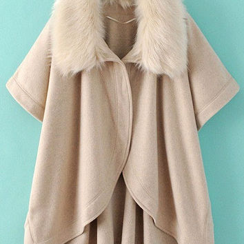 Beige Batwing Sleeve Faux Fur Collar Winter Coat