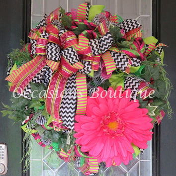 XL Summer Wreath, Spring Wreath, Door Hanger, Wreath for Door, Outdoor Wreath, Floral Wreaths, Housewarming Gift, Ready to Ship