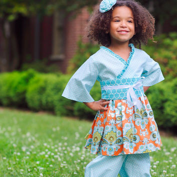 Gorgeous Orange and Blue Little Girls Outfit, Kimono Top and Girls Bloomers, Girls sizes 1T to 8 years, Birthday Outfit, girls dresses