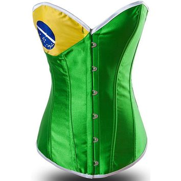 Fashion Lady Brazil Flag Pin Up Corset Body Cincher Top Bustier Corset Lingerie Underwear Full Body Shaper Slimming Corselet