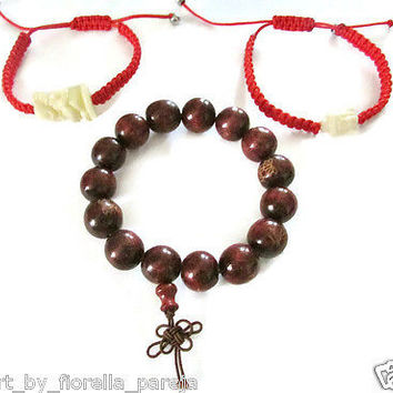 set of 3 pcs Tibetan Buddha,zen elephant,carved wood Prayer bracelet unisex gift