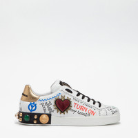 Men's sneakers and slip on | Dolce&Gabbana - PRINTED LEATHER SNEAKERS WITH EMBELLISHMENTS