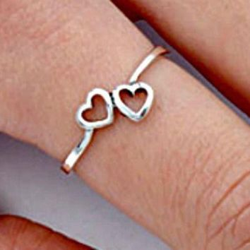 .925 Sterling Silver Tiny Double Heart Kids and Ladies ring size 2-10