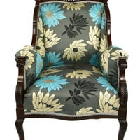 Aesthetic Movement Armchair Silver and Turquoise Flowers Antique English Victorian circa 1875