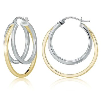 Sterling Silver Two-Tone Square-Tube Triple Round Hoop Earrings