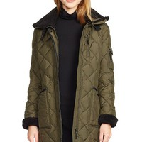 Women's LaurenRalphLauren Faux Shearling Trim Quilted Down & Feather FillCoat,