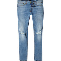 River Island MensMid wash ripped Sid skinny stretch jeans