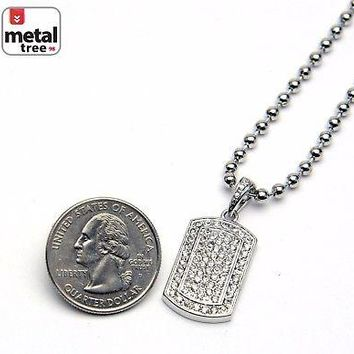 Jewelry Kay style Men's Bling Iced Out Hip Hop Dog Tag Pendant Ball Chain Necklace Set MMP 807 S