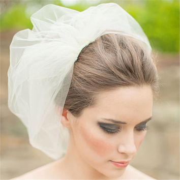 Hot Sale White Ivory Wedding Veils Two Layers Short Tulle Bridal Veil Custom Cut Edge Birdcage Wedding Veil With Comb FV08