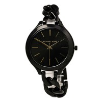 Michael Kors MK3317 Women's Slim Runway Black Dial Black IP Steel Twisted Chain Bracelet Watch