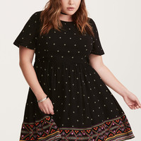 Border Print Gauze Skater Dress