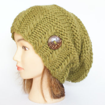 Olive green slouchy beanie hat Irish knitted slouch hat with button handknit beanie hat for women warm winter hat st patrick's day hat