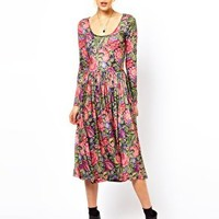 ASOS Midi Dress In Tapestry Style Print at asos.com