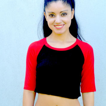 3/4 Sleeve Black and Red Raglan Crop Top / Cropped Baseball Tee