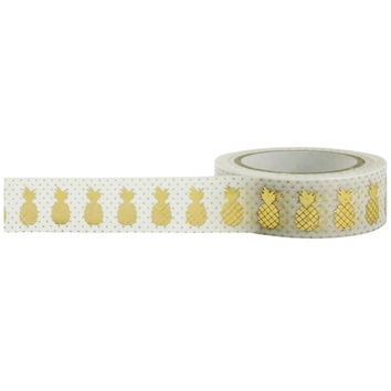 Gold Pineapple Foil Paper Washi Tape 15mm by 10m by Little B