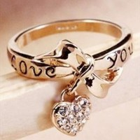 Bowknot Ring With Crystal Heart In Gold from Bblythe