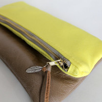 Yellow canvas and leather fold over clutch