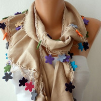 ON SALE - Beige Scarf Cotton Scarf -  Cowl Scarf with felt flower - fatwoman