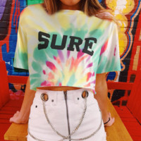 Personality Letter Print Loose Thin Iridescent T-shirt Umbilical Top [1416748859428]