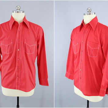1970s Vintage Western Shirt / 70s Cowboy Ranch Wear Shirt / JC Penney Mens Wear / Casual Menswear / Red Shirt