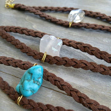 Crystal quartz stone leather bracelet, raw druzy stone bracelet, leather bracelet, rock crystal statement cuff, boho leather wrap, bohemian