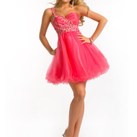 Single Strap Tulle Short Bead Formal Pageant Party Homecoming Cocktail Dresses