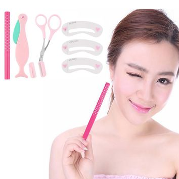 Hot Selling 4Pcs Professional Eyebrow Shaping Tools Set Makeup 5 colors eyebrow pencil choice Razor Scissors Combs