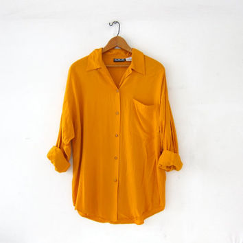 Vintage Orange Shirt. Rayon Pocket Shirt. Slouchy Button Up Shirt. Minimal Shirt. Basic Long Sleeve Button Up Shirt.