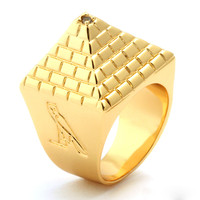 King Ice 14K Gold Egyptian Pyramid Ring