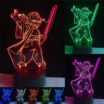 Fashion Star Wars 3D Bulbing Light LED Master Yoda Jedi Leader Lighting Mood Man Boy's Home Decor Bedroom Table Lamp Nightlight
