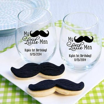 """Personalized  """"My Little Man"""" Printed Stemless Wine Glass (White Or Kraft Gift Box Available)"""
