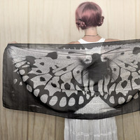 50 shades of grey Butterfly scarf, shawl, sarong, wrap, palantin, pareo