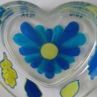 Yellow and Blue Fall Flower Leaves and Acorns Heart Shaped Glass Candy Dish Hand Painted