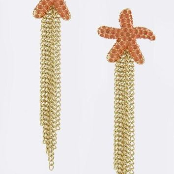 Textured Starfish With Chain Tassels Earrings-In Stock