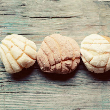 Food photograph- pastries, mexican sweet bread, kitchen decor, rustic, mini pastries, white, 8x10 print, fine art photo, conchas, whimsical,