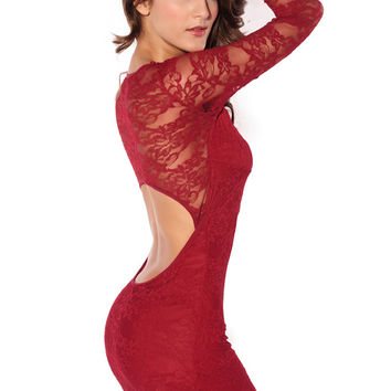 Long Sleeves Lace Dress in Red with Allover Lace