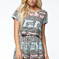 MinkPink Animal Striped Cropped Top at PacSun.com