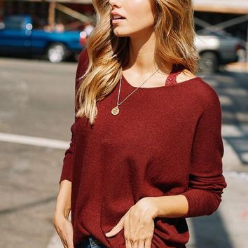 Luxe V-Neck Sweater - Wine